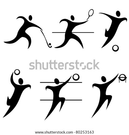 set team sports  icon person . summer sports. Olympic discipline. - stock vector