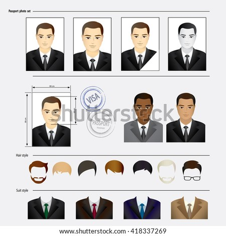 Set template face, business suits, clothing, hairstyles. Vector illustration - stock vector