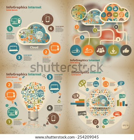 set Template for infographic with content in the cloud and devices in vintage style - stock vector