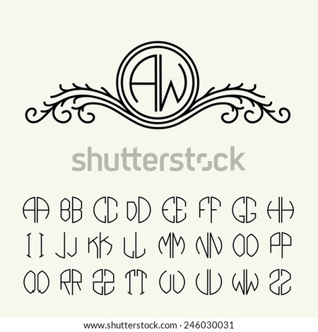 Set  template letters to create monograms of two letters in scribed in a circle. Elegant line art logo design in Victorian Style - stock vector