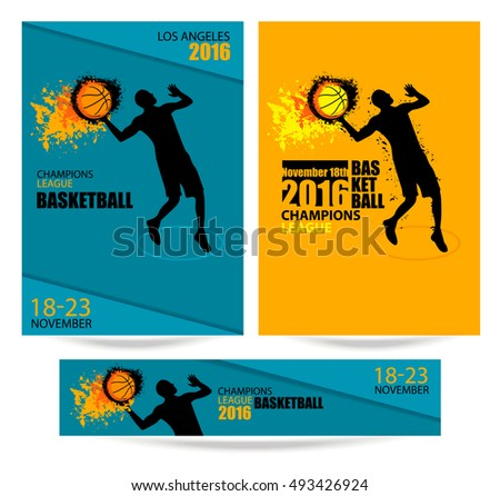 set templates banners posters basketball sportsman stock vector