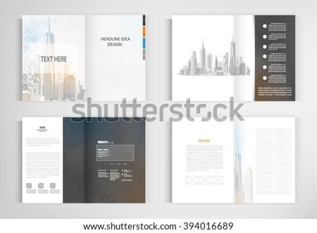 set templates for presentation slides. Graphic design of building - stock vector