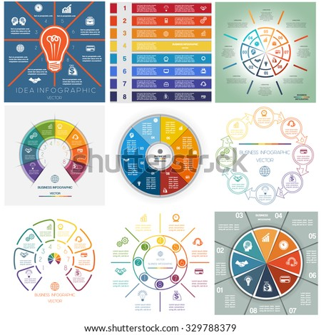 Set 9 templates, Infographics business conceptual cyclic processes, eight positions for text area, possible to use for workflow, banner, diagram, web design, timeline, area chart - stock vector