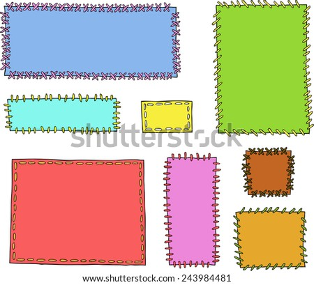 Set textile patches on a white background vector illustration - stock vector