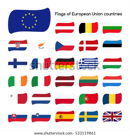 Set the flags of European Union countries, member states in 2016, vector illustration isolated on white background