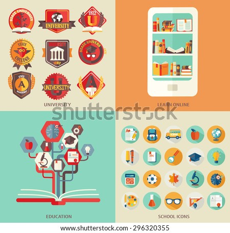 Set the flat elements and icons school , science , university, library , training. Vector illustration . - stock vector