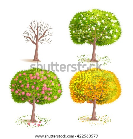 Set the isolated seasons trees. Deciduous blooming. With yellow foliage. With fruits. Cartoon style.