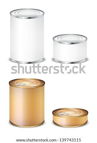 set tin isolated on white - stock vector