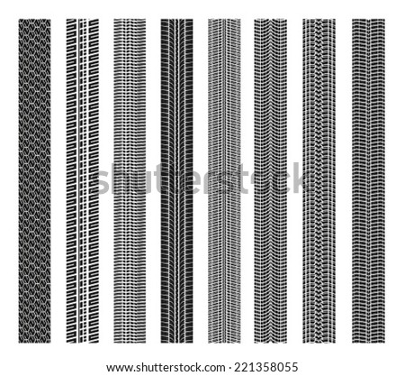 Set tires on white background - stock vector