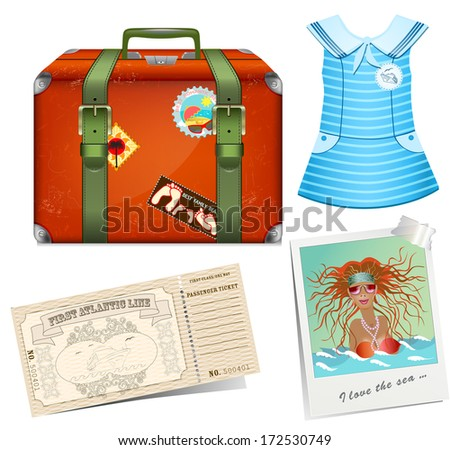 Set to travel. Female road suitcase - stock vector