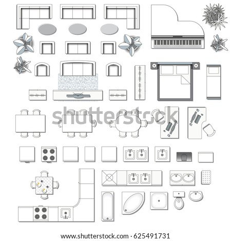 Set Top View Interior Icon Design Stock Vector 625491731