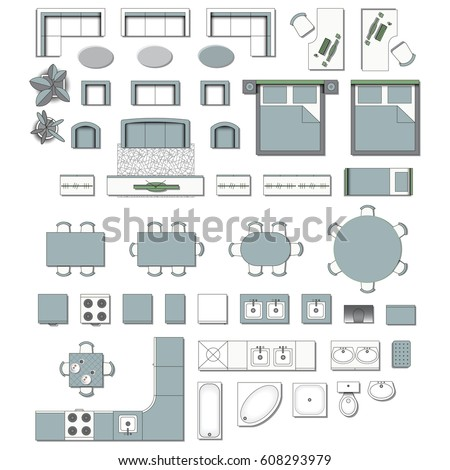 Floor plan furniture stock images royalty free images for Kitchen design vector