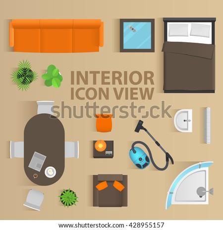 Set Top View Interior Icon Design Stock Vector 428955157