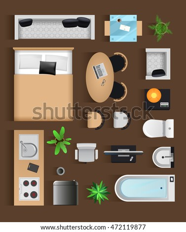 Set top view for interior icon design  Isolated Vector Illustration  Modern  black furniture top. Set Top View Interior Icon Design Stock Vector 472119877