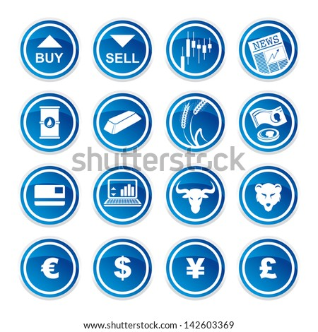 set trading icons  on a white background - stock vector