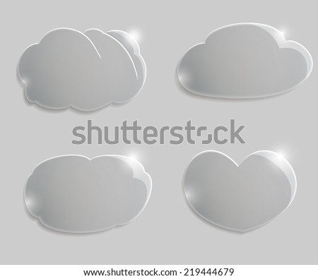 Set transparen clouds with shadow and glow - stock vector