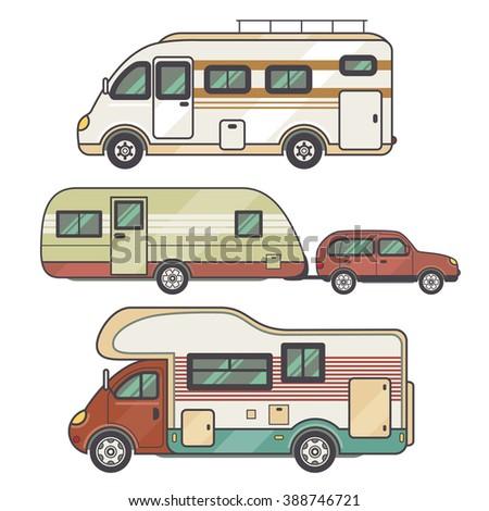 Rv Auto Set Camping Trailer Stock Vector 544794064