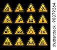 Set Triangular Warning sumbols  Hazard signs - stock vector