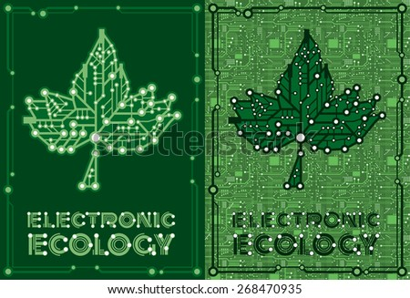 set two banners of green leaf maple with computer and motherboard elements for technology concept - stock vector