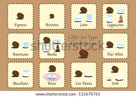 Set types of coffee - stock vector