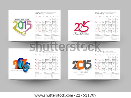Set up New Year Calendar 2015 Background.  - stock vector