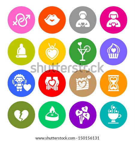 Set valentine's day buttons, love romantic symbols, vector illustration - stock vector