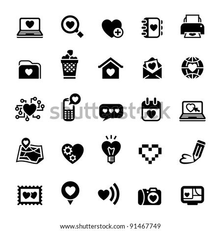 Set valentine's day icons, love on the Internet - stock vector