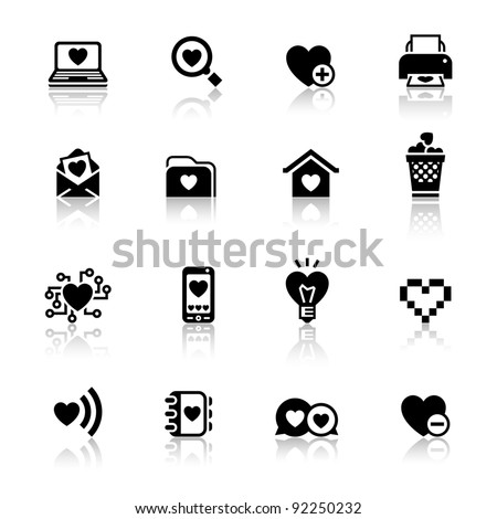 Set valentine's day icons, love on the Internet symbols - stock vector