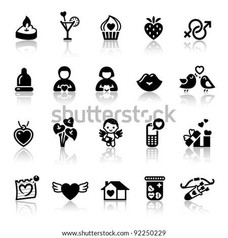 Set valentine's day icons, love romantic sign - stock vector