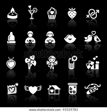 Set valentine's day icons. Love romantic sign - stock vector