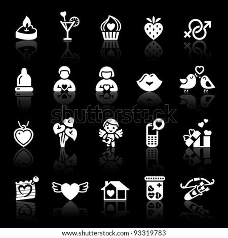 Set valentine's day icons. Love romantic sign