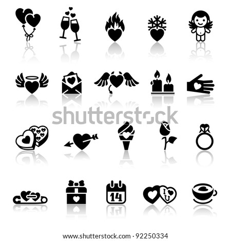 Set valentine's day icons, vector signs - stock vector