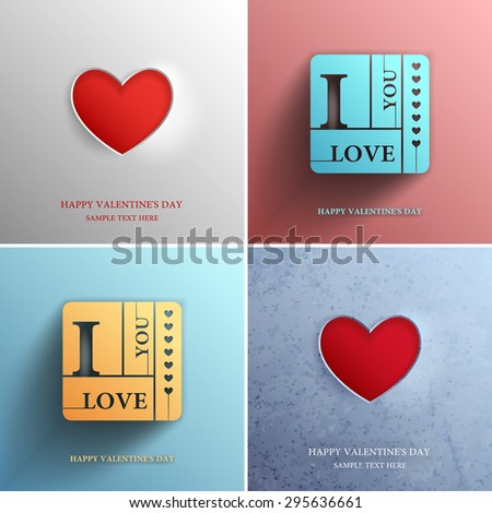 Set valentines day card with heart vector design element template, Vector illustration Eps 10 - stock vector