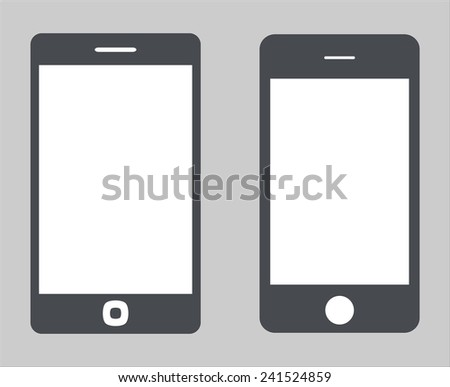 Set 3. Variety of modern black icon silhouette smartphone mobile tablet pc with blank screen isolated on white background. Vector illustration EPS 10 - stock vector