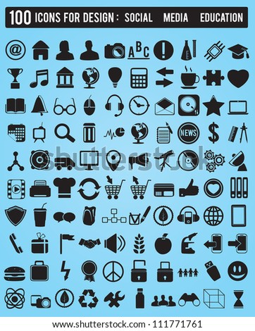 Set 100 various icons for design - vector icons - stock vector