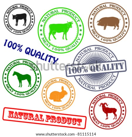 Set various rubber stamp with silhouettes of animals, natural product