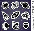 set vector black and white icons of space exploration - stock vector