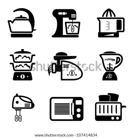 set vector black icons of kitchenware and kitchen tools
