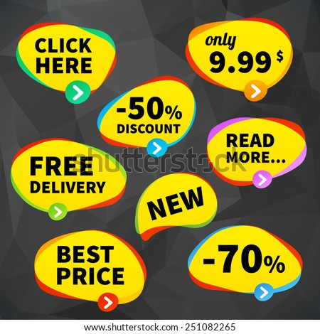 set vector business price tag labels on crumpled background. Isolated from background. layered. - stock vector