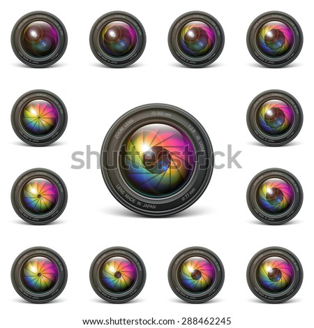 set vector camera lens object-glass photography background illustration technology design - stock vector