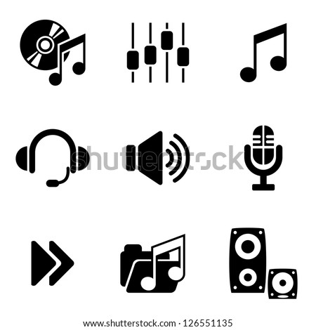 set vector computer icons of audio and music - stock vector