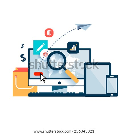 Set vector element for infographics. Computer with world map magnifying glass, which  looking for information on Internet. Arrow button. fly paper airplane. Yellow bag for shopping, tablet, smartphone - stock vector