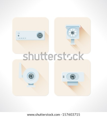 Set vector flat icon. - stock vector