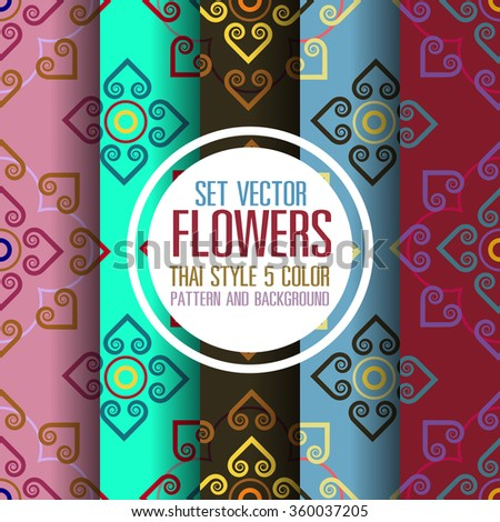 set vector floral thai style 5 colors pattern and background
