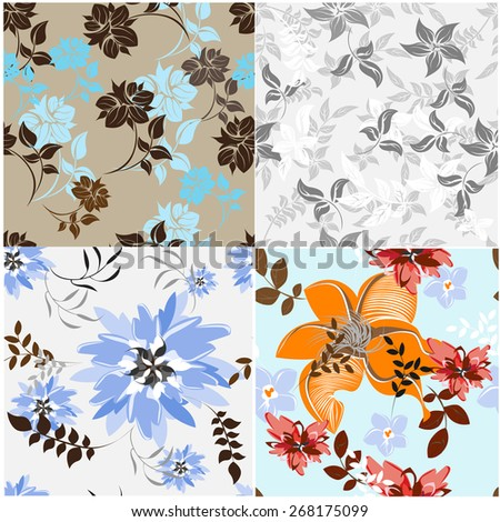 Set Vector Flower Floral Seamples Pattern  - stock vector