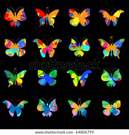 Set vector grunge butterfly on black background