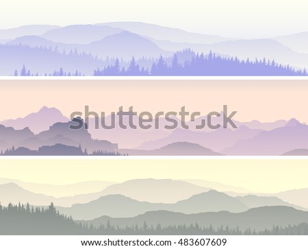 Set vector horizontal banners of morning misty forest hills.