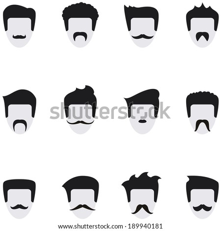 Set vector icons face with mustaches. All templates are on separate layers for easy use. - stock vector