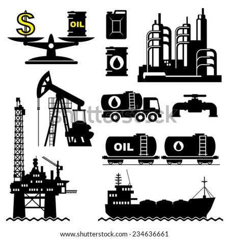 set vector icons of petroleum and oil industry - stock vector