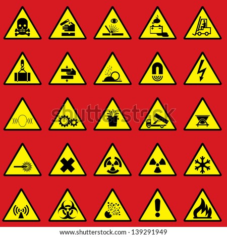 set vector icons of warning sign and danger symbols